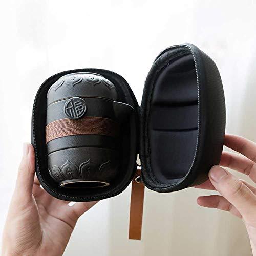 Adminitto88 Reise-Keramik-Teeset, Tragbares Kung-Fu-Teeset Mit Einem Topf Und Zwei Tassen, Mit Tee-Wasserabscheidebecher-Filter Und Aufbewahrungsbeutel