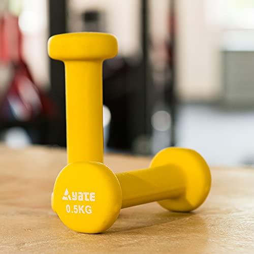 Yate Paar Neopren Training Fitness Hanteln 0,5kg 1kg 1,5kg 2kg 2,5kg 3kg 4kg 5kg rutschfest Hantelset Workout Gewichte für Damen Männer Kinder Krafttraining Gymnastik (0,5kg gelb)