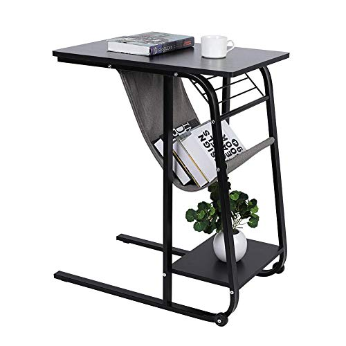 lyrlody Overbed Table,Home Rolling Mobile Computer Laptop Desk End Table Bedside Table Over Bed Sofa Side Table Hospital Bed Table Coffee Tea Snack Storage Table with Side Pocket(Black)
