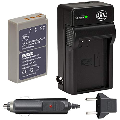 BM Premium BLS-50, PS-BLS5 Battery and Charger for Olympus OM-D E-M5...