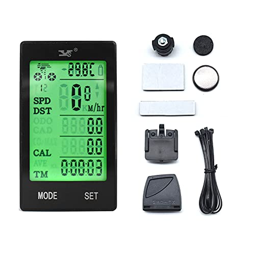 MoreJieka Ordenador de bicicleta inalámbrico LCD de 2.4 pulgadas, velocímetro multifunción para bicicleta, rastreador de ciclismo con retroiluminación de activación automática, odómetro, impermeable