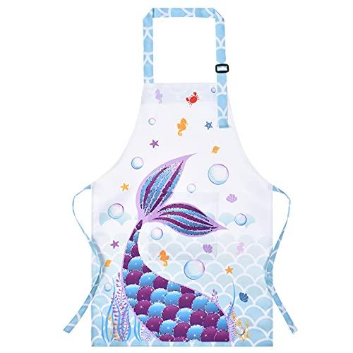 WERNNSAI Grembiule Bambini - Grembiule Cucina Ragazze Sirena con Cinturino Regolabile Tasca Poliestere Stampa Impermeabile Grembiuli Cucina Neonati per Cucinare Cottura Pittura (Medio, 8-12 anni)