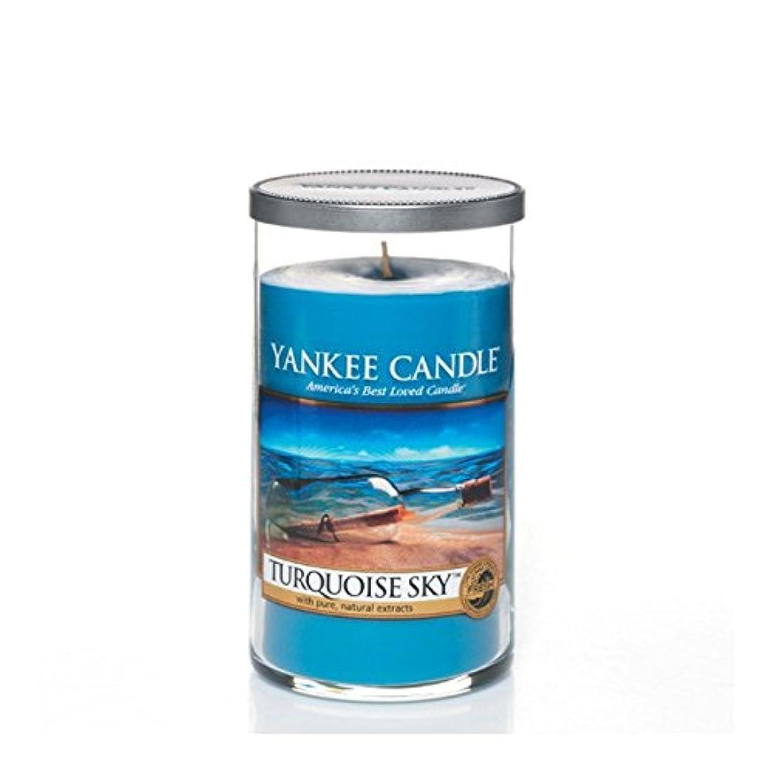 火山学退院舗装Yankee Candles Medium Pillar Candle - Turquoise Sky (Pack of 2) - ヤンキーキャンドルメディアピラーキャンドル - ターコイズの空 (x2) [並行輸入品]