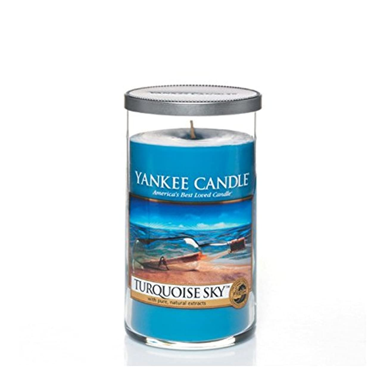 メジャー資金バイオレットYankee Candles Medium Pillar Candle - Turquoise Sky (Pack of 2) - ヤンキーキャンドルメディアピラーキャンドル - ターコイズの空 (x2) [並行輸入品]