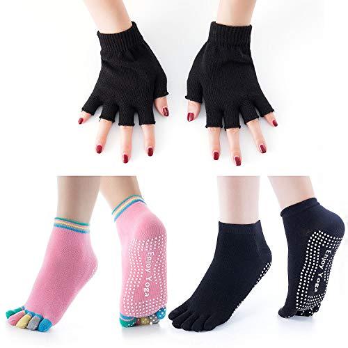 Vordas Yoga & Pilates-Socken für Damen, 2 Paar Yogasocken rutschfest Damen und 1 Paar Handschuhe Set, Perfekt für Pilates, Yoga, Barre, Dance, Home & Body Balance, etc