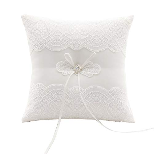 GuiHe Ivory Satin and Lace Pearl Wedding Ring Bearer Pillow Cushion Embroider Flower Lace with Bow, 7.9 Inch Ring Bearer for Beach Wedding