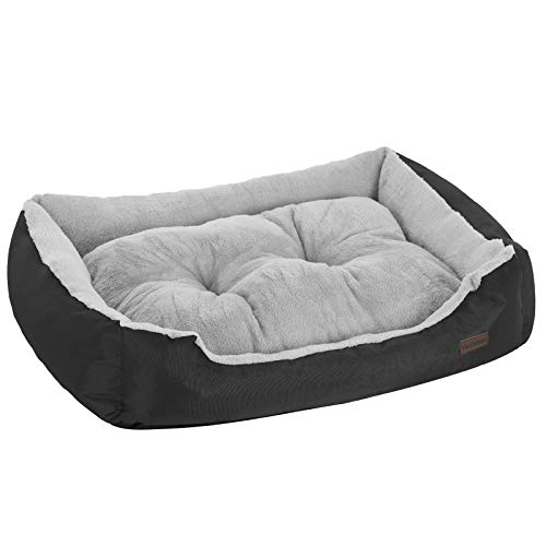 FEANDREA Dog Bed, Dog Sofa, 75 x 58 x 21 cm, up to 15 kg, Black and Grey PGW03BG