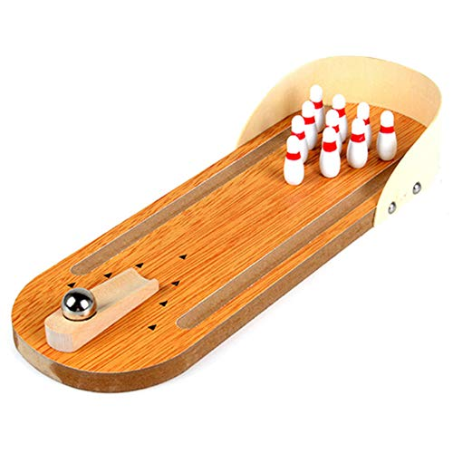 Glomixs Mini Desktop Bowling Game Set, Wooden Kids Children Ball Board Game Toy, Wood Finger Hand Stress Relief and Kill Time Toy, Home Office Decor Board Games Desk Tabletop Toy