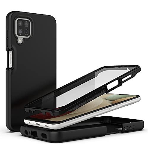SAMCASE Coque Compatible avec Samsung Galaxy A12 M12, [avec Protège-écran] 360 degrés Coque de Protection Complète du Corps Anti-Choc Anti-Scratch Bumper Housse Étui - Noir
