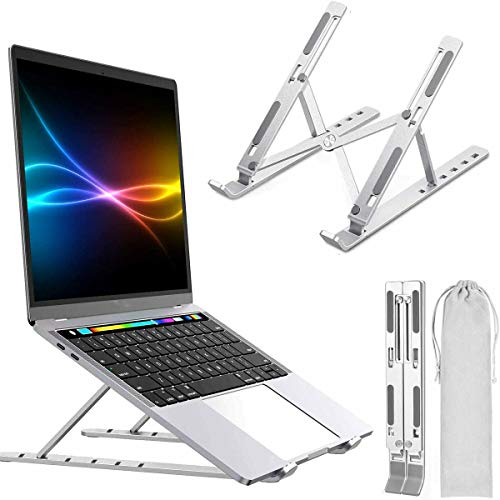 Quntis Laptop Stand, Portable Computer Laptop Mount Adjustable Laptop Holder Riser, Ventilated Ergonomic Aluminum Notebook Stand Compatible with MacBook Air Pro, Dell,More 10-15.6' Laptops and Tablets