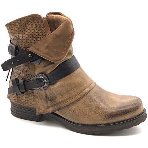 Angkorly - Damen Schuhe Stiefeletten - Biker - Classic - Schleife - String Tanga - Geflochten Blockabsatz 3.5 cm - Camel 2 F2863 T 36