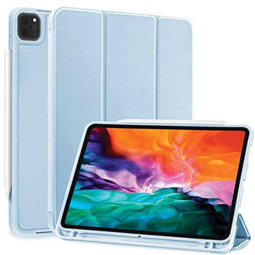 SIWENGDE Case for iPad Pro 11 2020& 2018, Support iPad 2nd Pencil Charging & Pair,Hard Cover with Auto Sleep/Wake,Full Body Protective Rugged Shockproof Case for iPad Pro 11 Inch 2020 (Ice White)