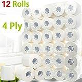 12 Rolls Toilet Paper Bulk Bath Tissue Bathroom White Soft 4 Ply 80g / Roll