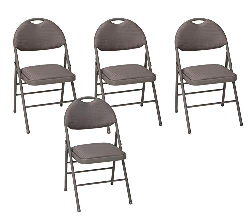COSCO Commercial Comfort Back Fabric Folding Chair with Handle Hole, 4 Pack, Dark Taupe