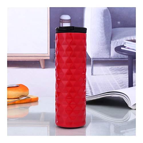 YJIU 2019 Wassertassen aus der neuen Serie Diamante für Geschäftsleute, doppelter Vakuum-Saugnapf, Edelstahl, Auto-Flasche, Isolierflasche, Pot rot