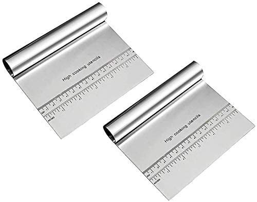 2 Packs Bench Scraper Stainless Steel Chopper Multi-purpose Kitchen Food Scraper with Measuring Scale,Cooking Baking Tools for Pizza Dough and Cake