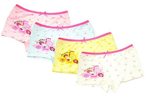 FAIRYRAIN FAIRYRAIN 4 Packung Baby Kleinkind Mädchen Kirschkuchen Pantys Hipster Shorts Spitze Baumwollunterhosen Unterwäsche 6-8 Jahre