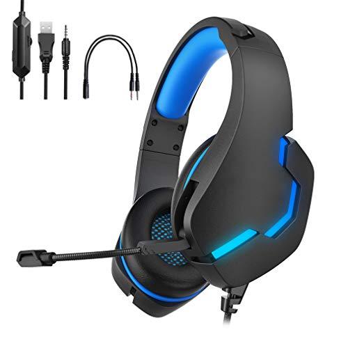 RBzhd Auriculares para Juegos, Auriculares para PC con Sonido Envolvente, Auriculares Ajustables con Cable De 3,5 Mm, Compatible con Xbox One, PS4, Nintendo Switch