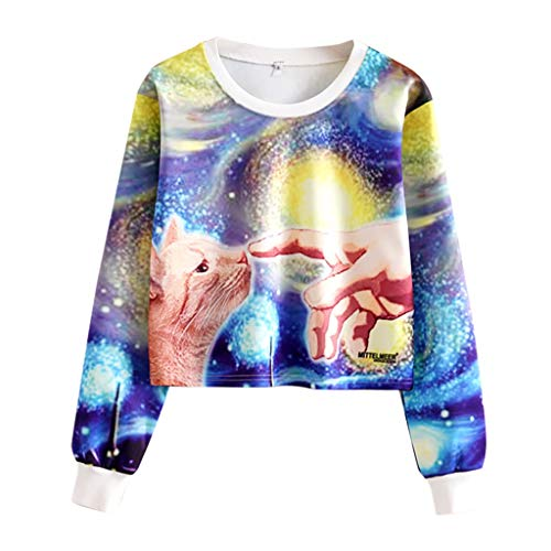 Dasongff trui voor dames, buikvrij, tieners, meisjes, sterrenhemel en kat, bedrukt met lange mouwen, pullover, modieus, print, pullover, korte sweatshirt, casual crop tops, sweatjack shirts