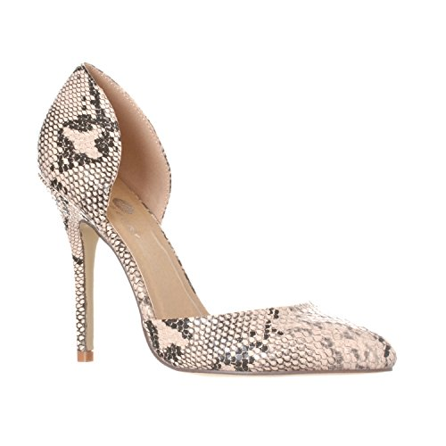 Riverberry Women's Nora Pointed Toe, Slip On D'Orsay Pump Heels, Beige Python, 9