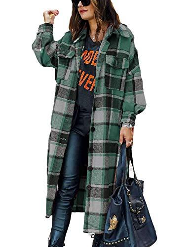 Omoone Women's Lounge Lapel Button Up Long Sleeve Plaid Long Shirt Jacket Shacket(O1766-Green-M)