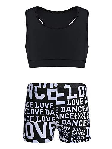YiZYiF Traje Deportivo Ropa de Deporte Niñas Conjunto Deportivo Yoga Fitness Top Chaleco Shorts Estampados Traje de Baño Letras Maillot Gimnasia Rítmica Negro 3-4 Años