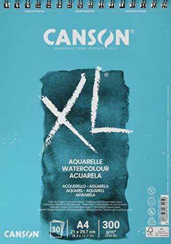 CANSON XL Aquarelle C400039170: Aquarellpapier - Aquarellblock in DIN A4 - 300g - mit Spiralbindung als Ringbuch - Malblock optimal für Wasserfarben & Aquarell