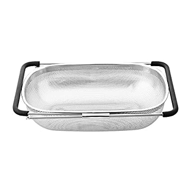 Cook N Home Micro Perforated Colander Over The Sink Expendable Handle, 13.5 by 9 , Stainless Steel