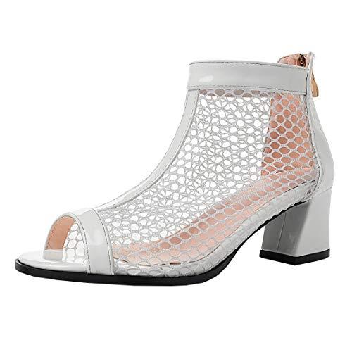 MISSUIT Damen Peeptoe Blockabsatz Sommerstiefeletten mit Reißverschluss Mesh Cut Out Ankle Boots Schuhe(Weiß,37)