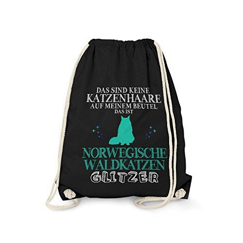 Fashionalarm Turnbeutel - Das sind Keine Katzenhaare - Norwegische Waldkatzen Glitzer   Fun Rucksack mit Spruch als lustige Geschenk Idee, Farbe:schwarz