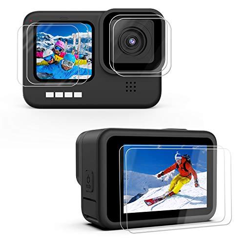 Kupton [6 Pack] Displayschutzfolie kompatibel mit GoPro Hero 9 Black, 2×Ultraklarer Gehärtetem Glas Displayschutz, 2×Gehärteter Glas-Objektiv-Schutz, 2×Gehärteten Glas Vorderseit LCD-Schutzfolie