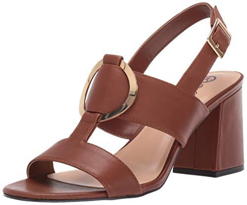 Bella Vita Women's Bella Vita Tanya slingback sandal with metal ornament Shoe, Dark Tan leather, 6.5 N US