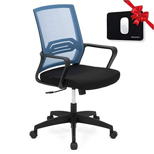 COMIFORT Sedia da ufficio Bird con schienale traspirante e reclinabile, design moderno e funzionale, con supporto lombare, seduta imbottita e rivestita in tessuto di tessuto, colore blu