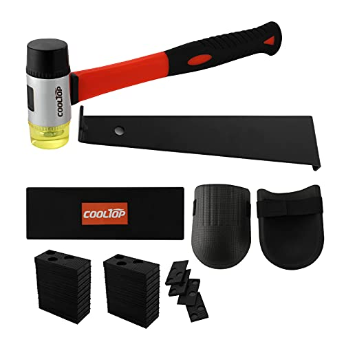 Cooltop Laminate Wood Flooring Installation Kit with Reinforced Mallet, Upgraded Pull Bar, Durable Tapping Block, 40 Spacers, 2 Knee Pads and 1 Backpack