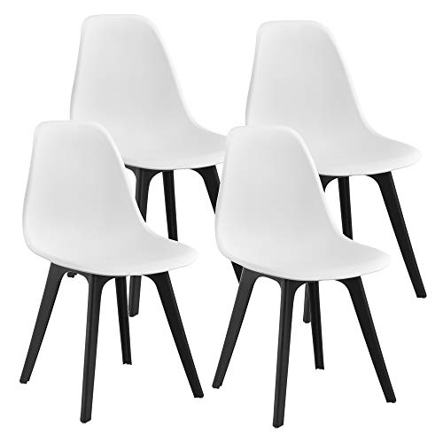 [en.casa] Sedie per Sala da Pranzo Design 83 x 54 x 48 cm Set di 4 Pezzi Plastica Bianco/Nero