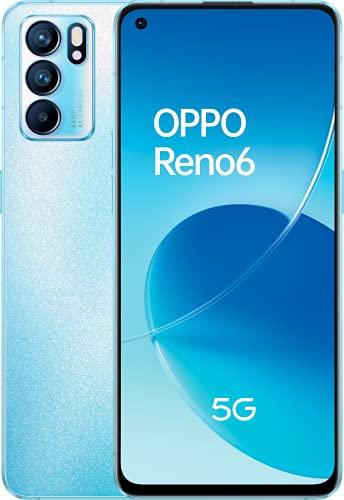 Reno 6 5G Artic Blue - AMOLED FHD+ 6,43' 90Hz, Triple cámara 64MP+8MP+2MP, Mediatek Dimensity 900, 8GB RAM + 128GB almacenamiento, carga rápida 65W y 4300mAh [Versión ES/PT]