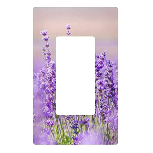 YYZZH Purple Flower Lavender Floral Single Gang Rocker Switch Plate 2.9' X 4.6' Light Outlet Wall Plate Decoration Wallplate Cover