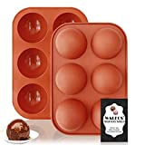 Walfos Molde Silicona Semi Esfera, Moldes Chocolate Silicona sin BPA - Ideal para Hacer Chocolate, Pastel, Gelatina, Mousse de Cúpula
