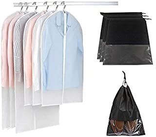 Lemostaar Garment Bags - 6pcs Travel & Storage Dress Bags - Best Dress Garment Bag with Full Zipper & Carry Handles for Suits,Wedding Gowns, Prom Dresses & More, with 3 Shoe Bag
