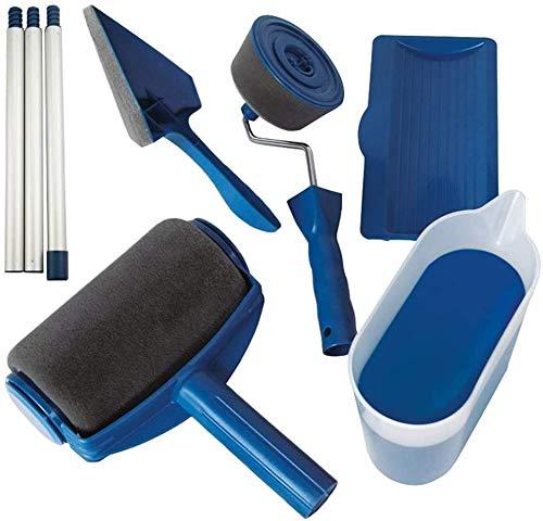 [2020 NEW] Senza Cuciture Rullo per Pittura Pro con Serbatoio Professionale Set 9pz Incluso un Rullo di Ricambio e Pennelli per Manico Rulli per Vernice antigoccia Trasforma la stanza in minuti