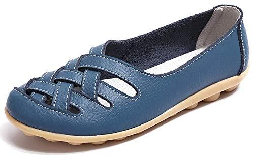 Vocnako レディース安全靴ナースシューズウォーキングシューズダイエットシューズ看護師介護士本革厚底靴履きやすい疲れにくい女性用作業靴軽量スニーカー通勤通学