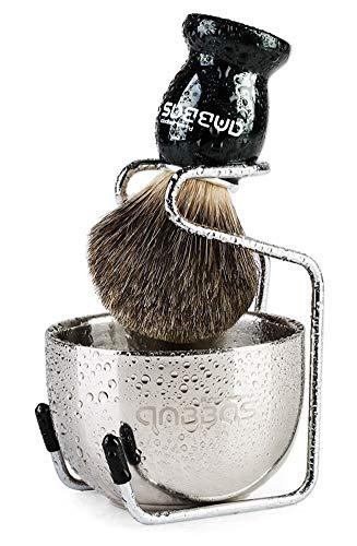 Rasierset Luxus Herren Geschenk Set Rasierpinsel Dachshaar silberspitz mit Rasierschale und Pinselhalte