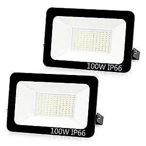 Aurorast Foco LED Exteriore 100W 8000LM, Potente Luces Led Exterior IP66, Luz de Seguridad Blanca Fría 6000K para Terraza, Jardín, Patio, Parque, Garaje