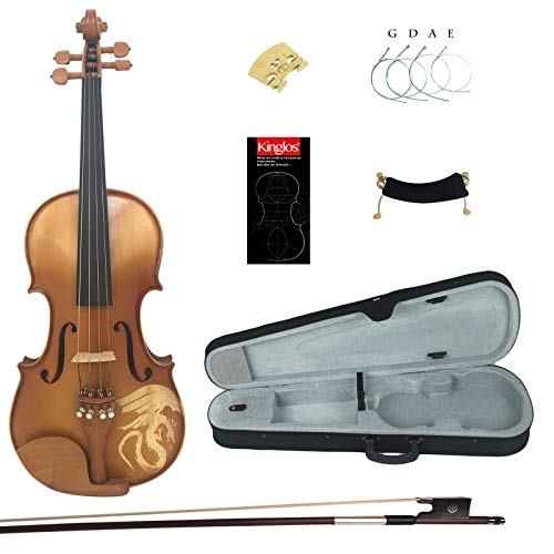 Kinglos 4/4 Dragon Carved Ebony Fitted Solid Wood Violin Kit with Case, Shoulder Rest, Bow, Extra Bridge and Strings Full Size (LONG006)