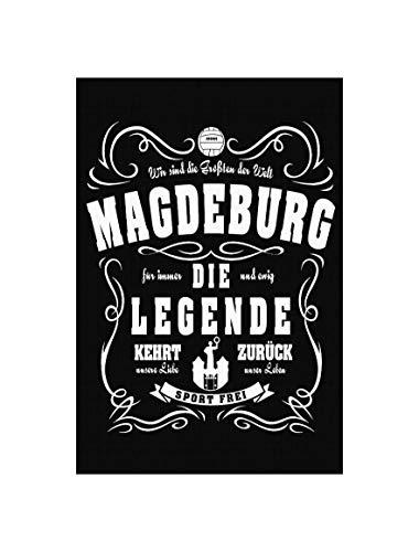 Uglyshirt89 Magdeburg Legende Premium Leinwand | Keilrahmen Bild Gemälde Wandbild (Schwarz, 45 x 30 cm)