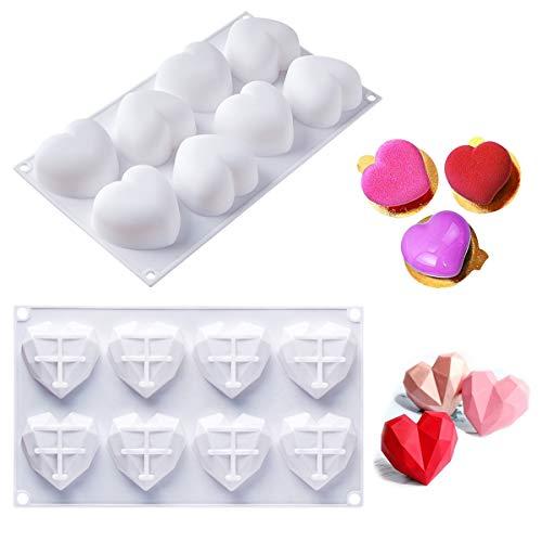Molde de silicona de Baker Boutique 3D Love Heart con forma de corazón, 2 moldes de 8 cavidades, molde de postre en forma de corazón de diamante 3D, bandeja de herramientas para hornear hechas a mano