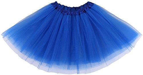 Simplicity Women's Classic Elastic 3 Layered Ballet Tulle Tutu Skirt, Royal Blue