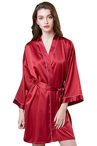YONIER Mujer Satén Suave y Ligero Vestido de Dama de Honor de Camisón Albornoces para Mujer de Dormir Elegante Novia Batas Mujer de Pijamas S-XXL