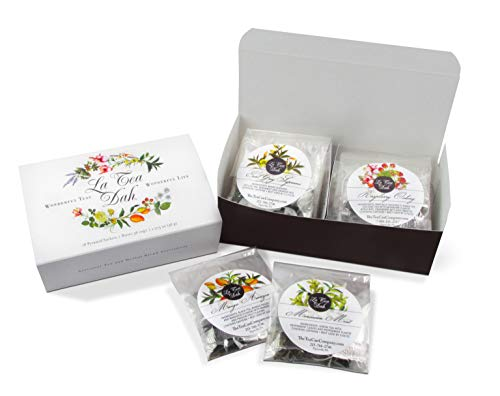 La Tea Dah Tea Sampler Gift Set: 9 Variety Assortment of 18 Biodegradable Pyramid Tea Infuser Sachets: Black, Green, Oolong, Herbal Tea - Hot or Iced Tea, Mothers Day Gift, Tea Gift: 54 Servings