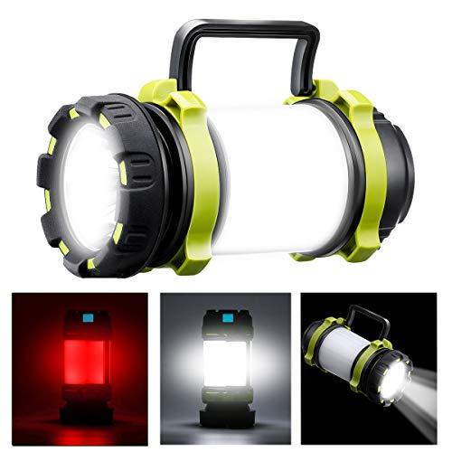 SGODDE Lampe de Camping LED Rechargeable, 1000 Lumens Ultra Puissante Lanterne Camping 6 Modes IPX5 Étanche pour la Pêche de Nuit, Chasse, Randonnée, Garage, Éclairage de Secours (Inclus Câble USB)